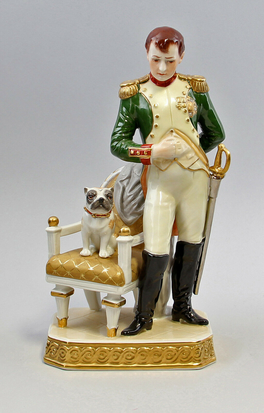 Kämmer-Porcelain  Figure Napoleon with Mops Height H24CM a3-44190