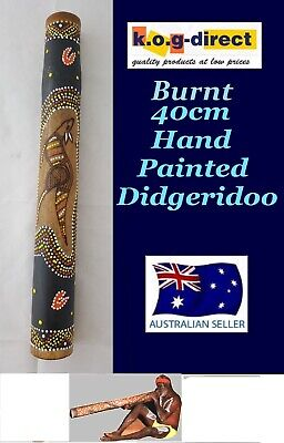 DIDGERIDOO BURNT BAMBOO 40CM ABORIGINAL STYLE BEAUTIFULLY HAND PAINTED NEW ORG