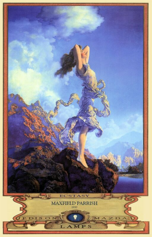 "Maxfield Parrish Ecstasy Art Deco Print 11"" x 17"" on Poster Stock Free S&H!"