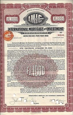 International Mortgage And Investment Corporation          1928 Four Year Bond