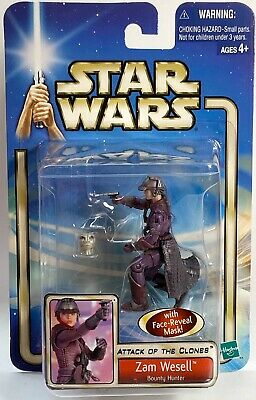 STAR WARS Figures Zam Wesell Bounty Hunter Attack Of The Clones AOTC Carded