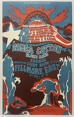 FRANK ZAPPA Mothers of Invention JAMES COTTON Concert Poster Fillmore East