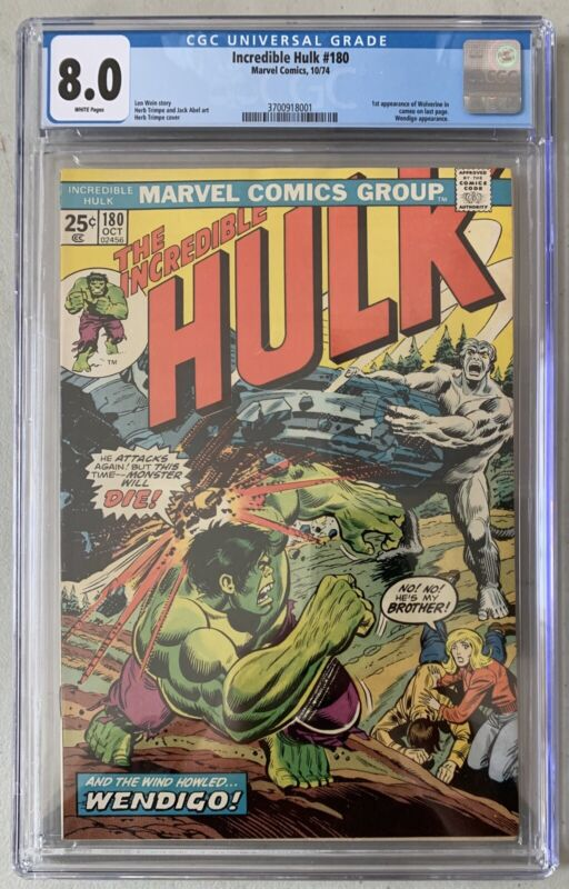 (1974) INCREDIBLE HULK #180 CGC 8.0! WP! 1st CAMEO APPEARANCE OF WOLVERINE!
