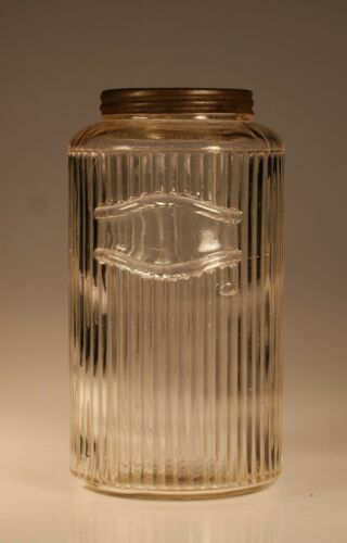 Vintage Hoosier Glass Crystal Ribbed Sugar Flour Coffee Canister c.1925