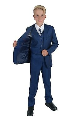 Boys Blue Grey Suits 5 Piece Wedding Suit Prom Page Boy Formal Party 2-12 Years