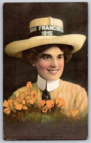 Vintage 1915 Pan Pacific Exposition San Francisco Postcard Woman w// Hat Flowers