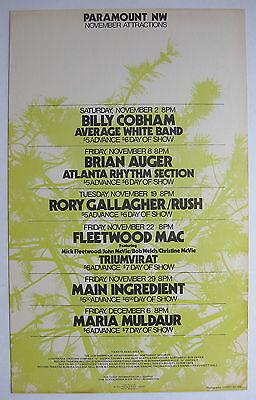 RUSH FLEETWOOD MAC Paramount Northwest 1974 US Cardboard CONCERT POSTER Blues