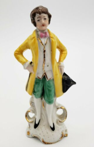 "Vintage 5.5"" Tall Victorian Gentleman Figurine, Germany, Gold Gilt, Numbered"