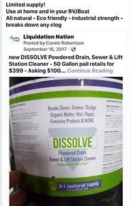 NEW UNOPENED 50 LB PAIL OF DISSOLVE POWDERED DRAIN CLEANER