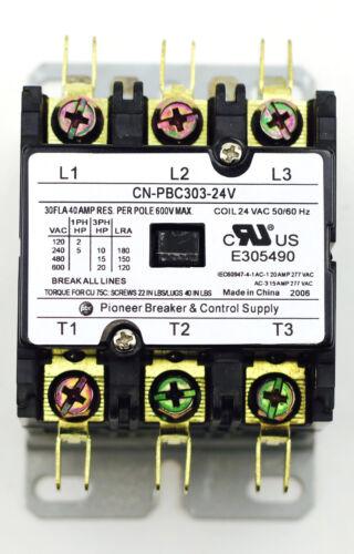 CN-PBC303-24V DEFINITE PURPOSE CONTACTOR 30AMP 3POLE 24V COIL 30a FLA 40a RES