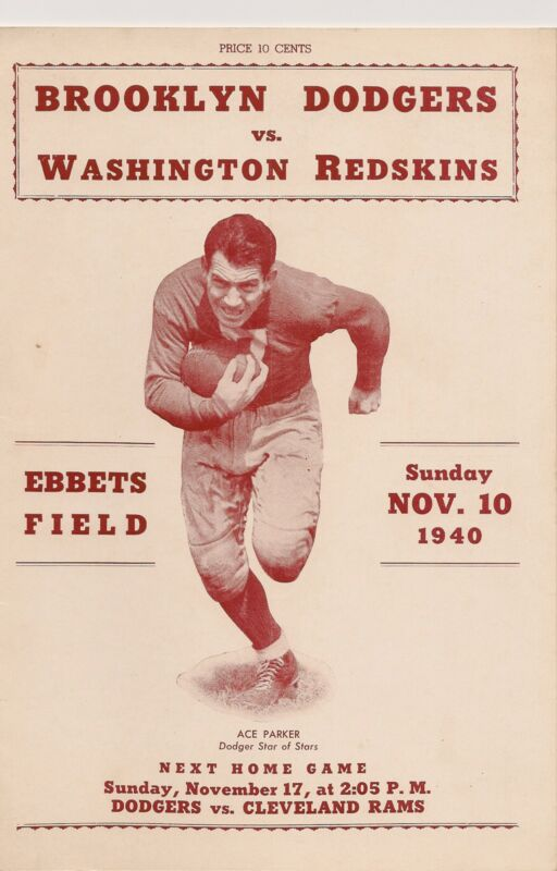 1940 Brooklyn Dodgers- Redskins Program Dodgers Shock Skins RARE!!