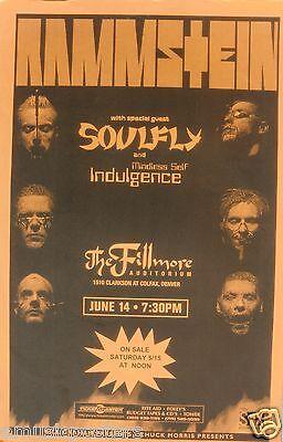 RAMMSTEIN & SOULFLY 1999 DENVER CONCERT TOUR POSTER - Metal Rock Music
