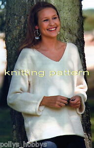 KNITTING PATTERN LADIES BOYFRIEND SLOUCH JUMPER ARAN EASY KNIT #275