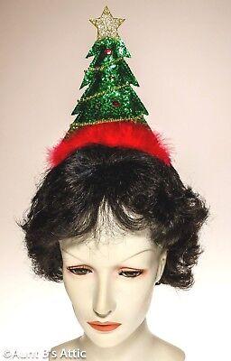 band Gr / GD / Rd Paillette & Feder Weihnachten Neuheit (Weihnachtsbaum Stirnband)