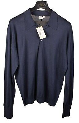 NWT NEW John Smedley Blue 'Leander' Long Sleeve Polo Shirt Sea Island Cotton XL