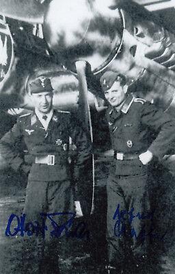 Luftwaffe Ace O.Fries/A.Staffa SIGNED RARE COMBO PHOTO Pilot and Radio Op RARE
