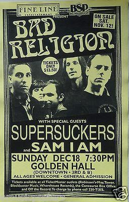 BAD RELIGION / SUPERSUCKERS 1994 SAN DIEGO CONCERT POSTER - Classic Punk Music