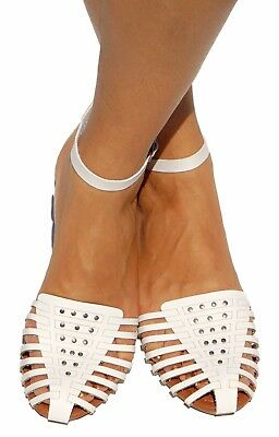 Women Sandals Gladiator Ankle T-Strap Mary Jane Flat Shoes Ballet Caged Studded Ankle Strap T-strap Sandals