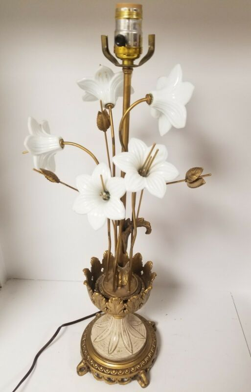Vintage lamp glass flowers metal base  hollywood Regency style Made In Italy