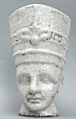 Große Pharao-Keramik-Büste, in Krakeleetechnik gebrannt, gemarkt, H.35 cm.