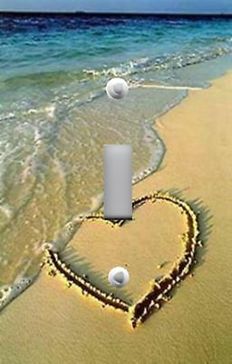 Light Switch Plate & Outlet Covers BEACH DECOR - LOVE HEART IN THE SAND OCEAN - Heart In The Sand
