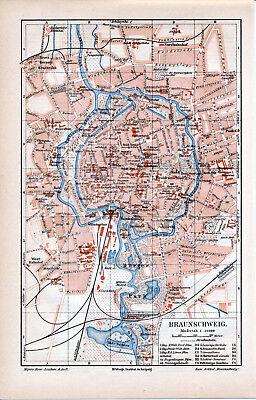Braunschweig 1906 orig. Stadtplan + Lex.-Artikel Bürger-Park Residenzschloss BS