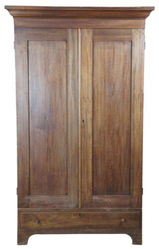 "Primitive Early American Walnut Clothing Armoire Wardrobe Closet Linen Press 84"""