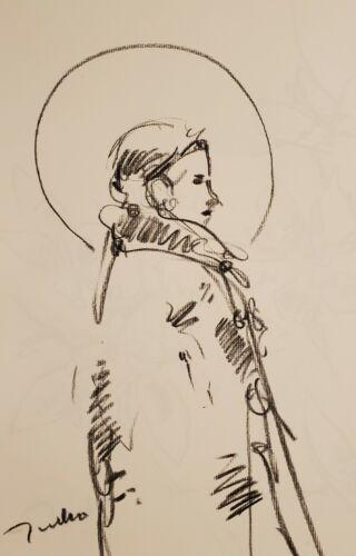 JOSE TRUJILLO - Original Charcoal Paper Sketch Drawing 11X17 SAINT FIGURE ART