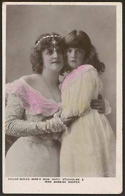 Actress. Miss Marie Studholme & Miss Bobbins Cooper. c1906 Tinted Photo Postcard