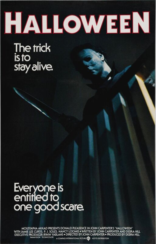"""HALLOWEEN (1978) Movie Poster Horror Michael Myers """"The Trick is to Stay Alive"""""""