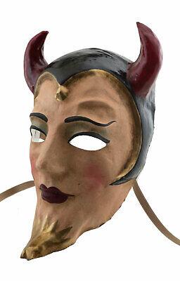 Mask from Venice Devil Diavolo Horns Red in Paper Mache Venetian 551