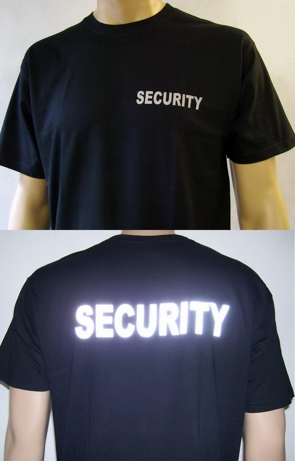 SECURITY T-Shirt in schwarz oder marineblau, Text silberreflex, Herren S bis 4XL