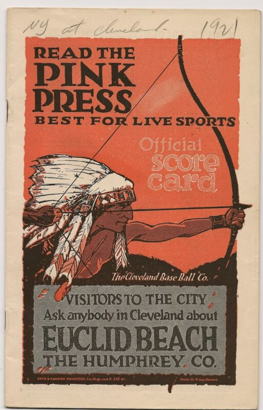 1921 Cleveland Indians-Yankees Program Tribe Pounds Yanks RARE GEM!!