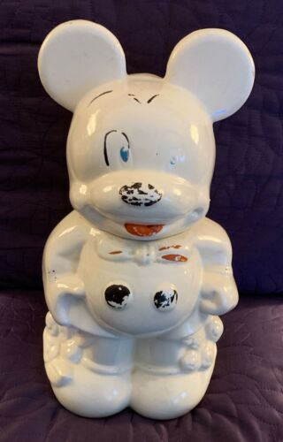 WALT DISNEY  MICKEY AND MINNIE MOUSE  TURNABOUT COOKIE JAR  LEEDS  C. 1940