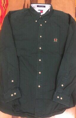 Tommy Hilfiger vintage mens green long sleeve button down dress shirt (Tommy Hilfiger Men)