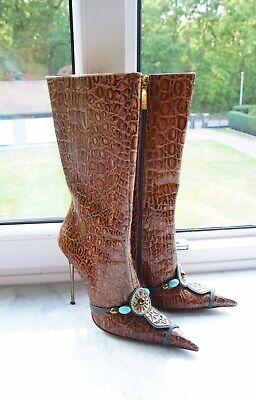 HAMLET COUTURE Luxus Designer Echtleder Stilettos, Handgemacht, Spitz, Gr.39