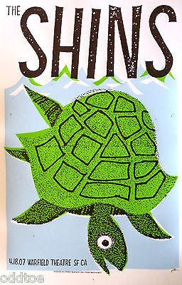 THE SHINS, Orig Concert Poster S/N Print Mafia, Warfield, Sea Turtle, Silkscreen