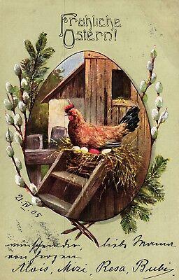 Ostern, Huhn, Eier, Palmkätzchen, 1905 ()
