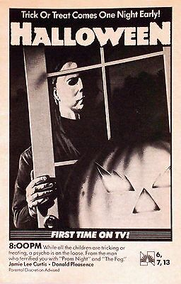 HALLOWEEN Movie Poster Horror Michael Myers TV Ad (Halloween Tv)