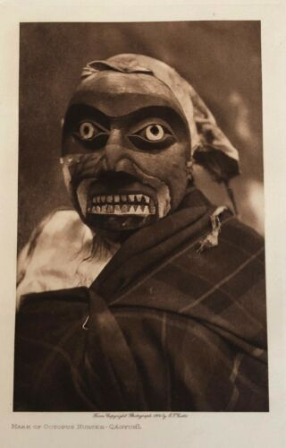 EDWARD CURTIS 1914 Photogravure Mask of Octopus Hunter NORTH AMERICAN INDIAN