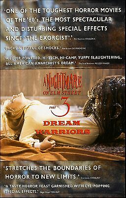 A NIGHTMARE ON ELM STREET 3 DREAM WARRIORS Movie Poster Horror Freddy Kruger
