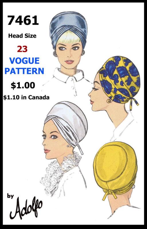 TURBAN Fabric Pattern VOGUE # 7461 Designer ADOLFO HAT Hijab Alopecia Millinery
