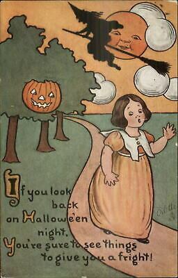 Halloween SCARCE TUCK #816 Little Girl & Witch Man in the Moon c1910 Postcard - Halloween The Little Girl