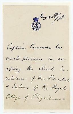 1878 | Captain Verney CAMERON | letter | 1st European to cross equatorial AFRICA