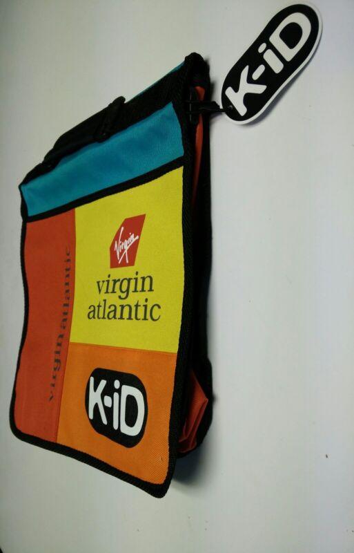 Virgin Atlantic Kids Red Yellow Teal Backpack canvas belt inside pocket flapover