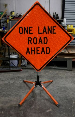 ONE LANE ROAD AHEAD Sign & Stand 48 in X 48 in