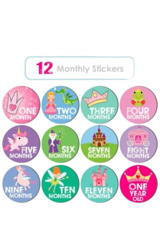 Kinokyo Baby Girl Monthly Stickers 24 Pack: 12 Mo. Milestone,12 1st Holiday