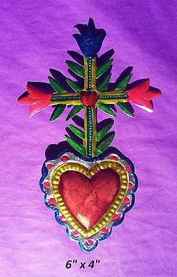 "Heart Cross & Flowers Mexican Handmade Painted Tin Milagro Art 6""x4"""