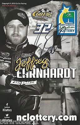 Signed 2016 Jeffrey Earnhardt  Nc Eduation Lottery  Nascar Sprint Cup Postcard