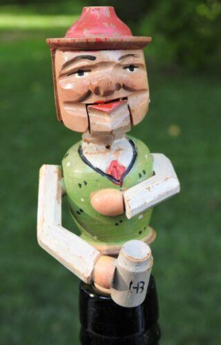 Vintage Carved Wooden Mechanical Cork Head Bottle Stopper Man w/ Beer Mug